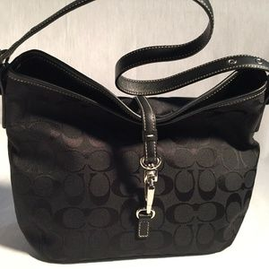 Coach Black Canvas Hobo Bag w/ Lobster Clasp